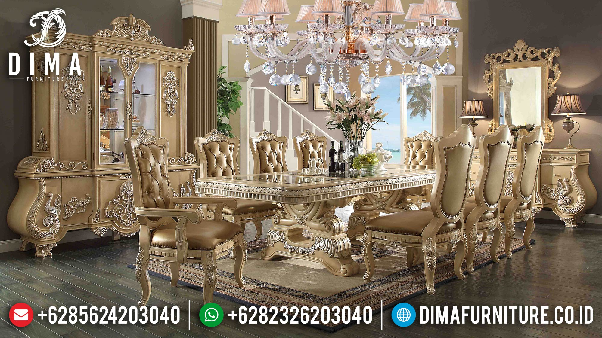 Furniture Klasik Terbaru Set Meja Makan Mewah Houston SK-0023