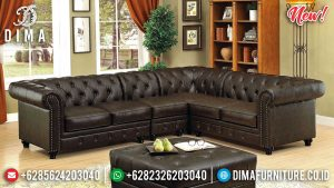 Chesterfield Mode Sofa Tamu Minimalis Raisa Leather Fabric Great Quality SK-0413