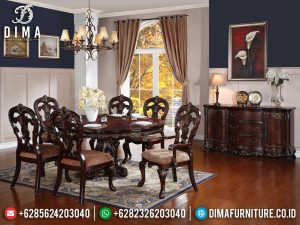 Great Set Meja Makan Jati Klasik Luxury Natural Dark Brown SK-0425
