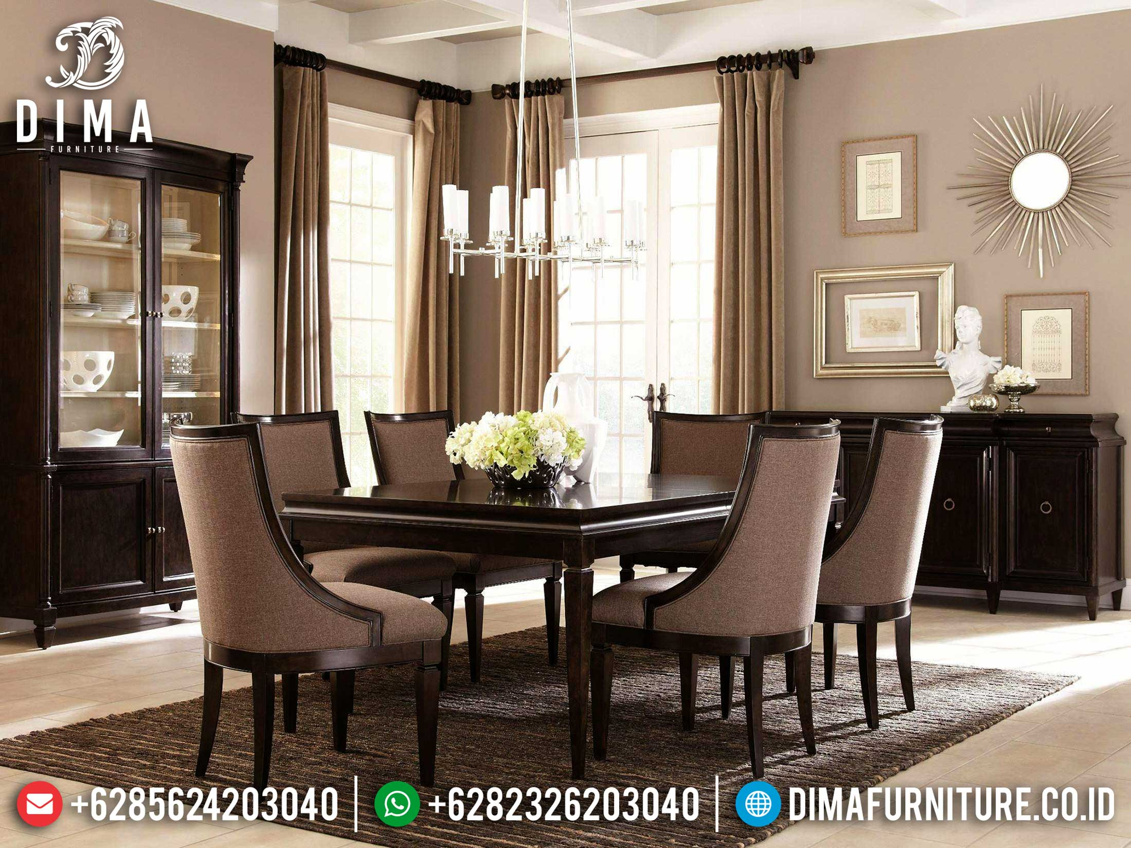 Jual Meja Makan Kayu Jati Natural Salak Dark Brown Luxury Furniture Jepara SK-0450