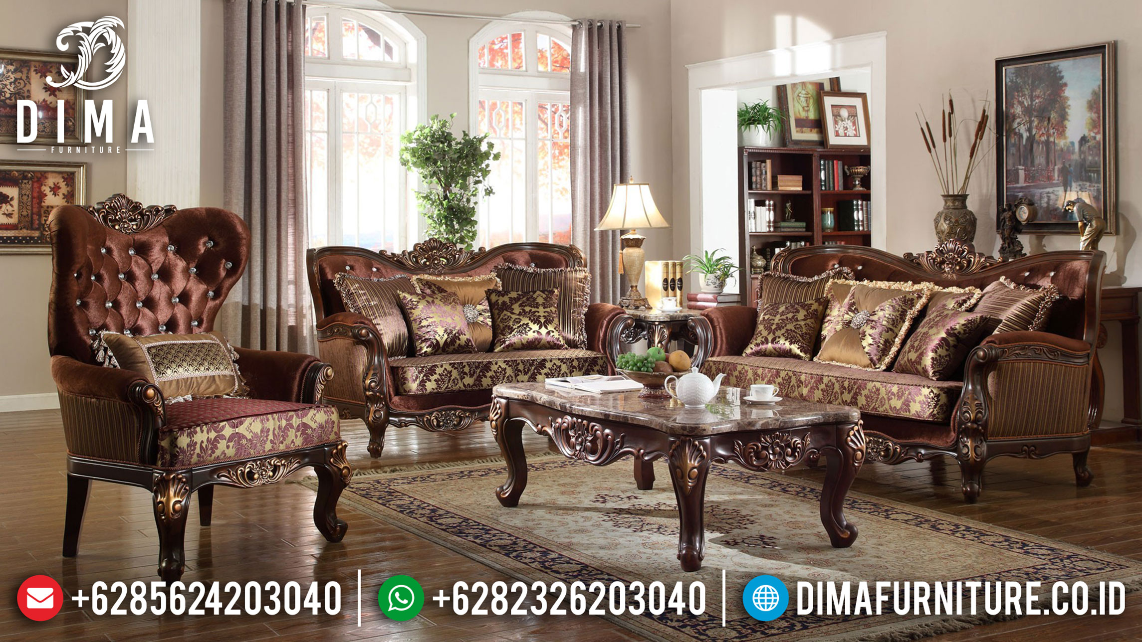 Jual Sofa Tamu Mewah Ukiran Jepara Luxury Classic Empire Style Golden Shine SK-381