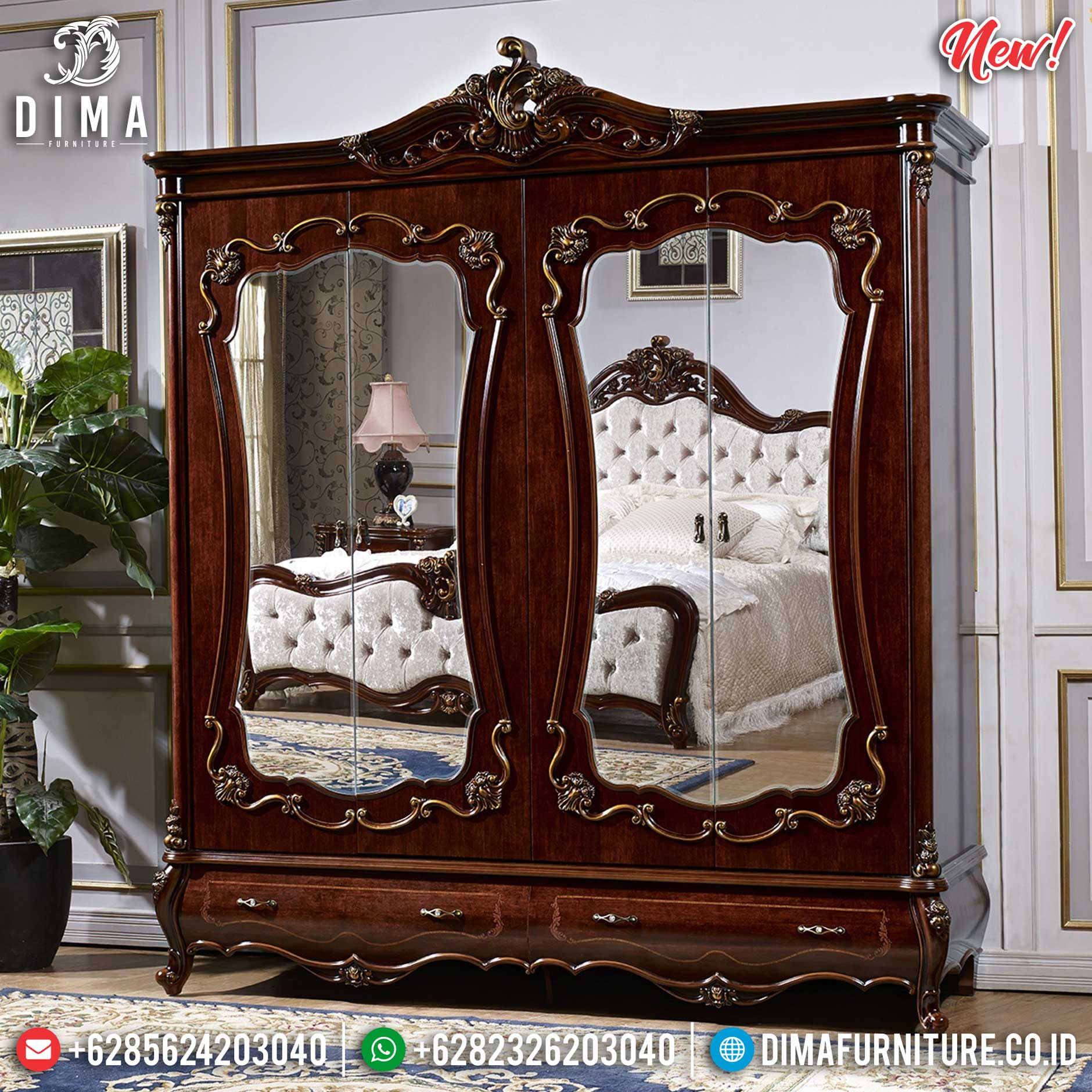 Lemari Pakaian Kayu Jati Natural Salak Brown Luxury Carving Jepara SK-0491