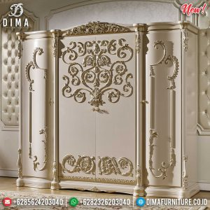Lemari Pakaian Mewah Jepara Luxury Carving New Golden Leaf Combination Style SK-0482