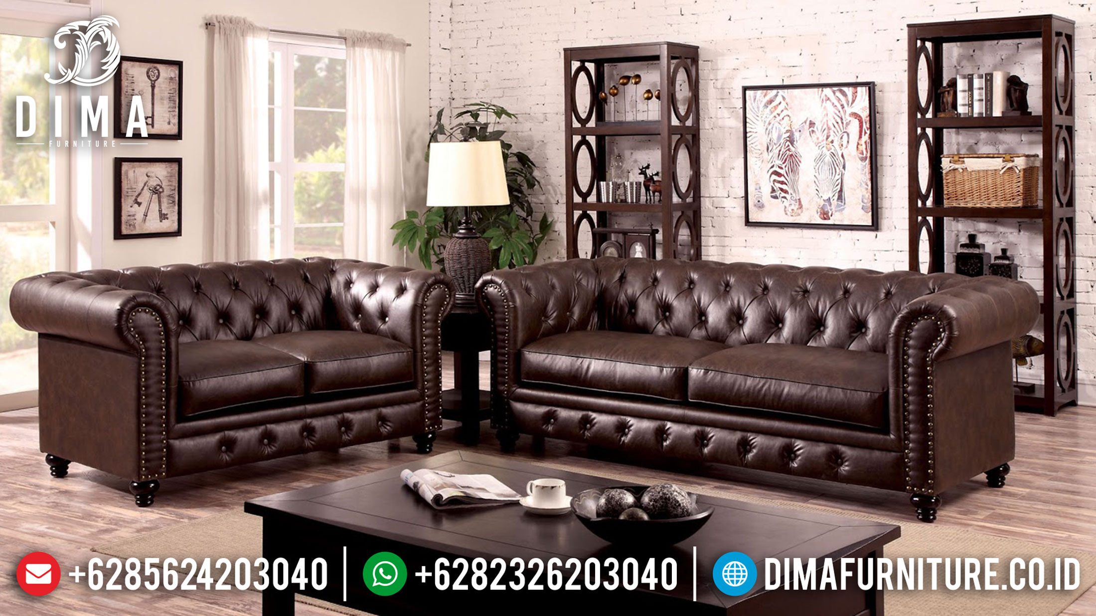 Model Sofa Tamu Minimalis Chesterfield New Oscar Leather Natural Jati SK-390
