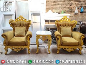 Order Now Sofa Tamu Mewah Single, Kursi Tamu 1 Dudukan Luxury Gold Carving SK-0520