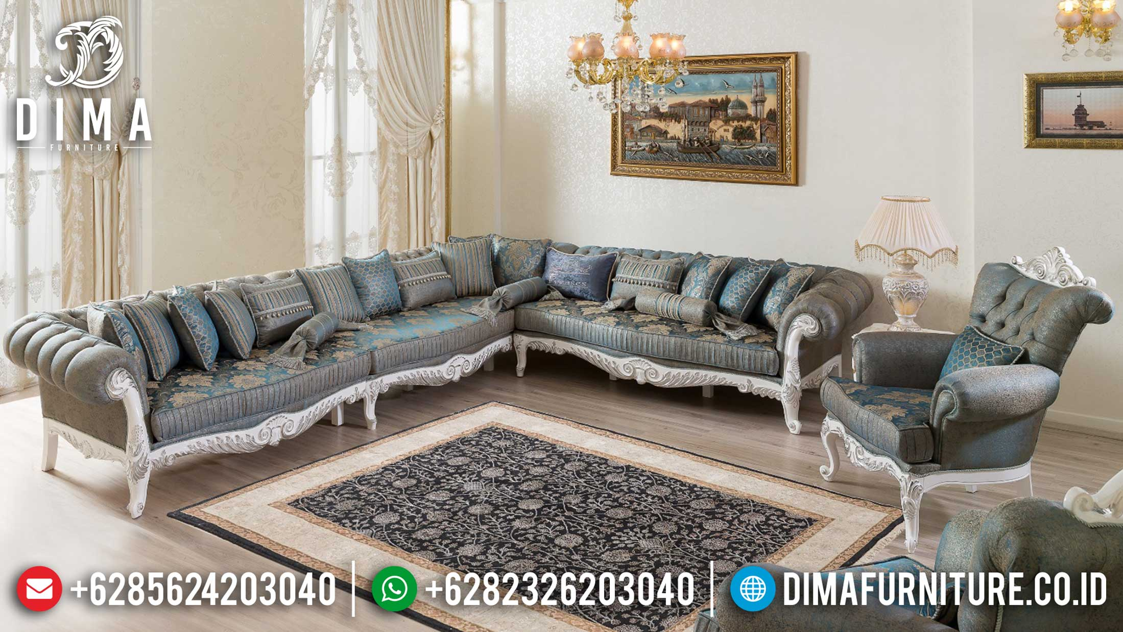 Set Sofa Tamu Sudut Jepara Classic Design Luxury Carving Gorgeous SK-394