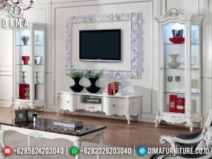 Bufet TV Mewah Jepara Classic Luxury White Deco Glossy New Year Release SK-0537