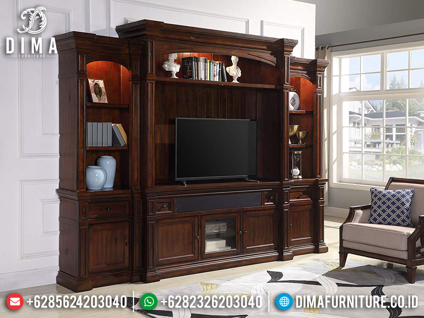 Bufet TV Minimalis Jati Natural Classic Best Solid Wood Perhutani Grade A SK-0540