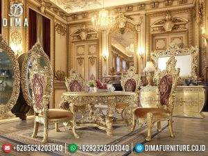 Golden Ruby Meja Makan Mewah Classic Luxury Carving New Furniture Jepara SK-0562