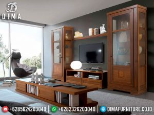 Gorgeous Meja TV Minimalis Jati Natural Set Lemari Hias New Furniture Jepara SK-0535