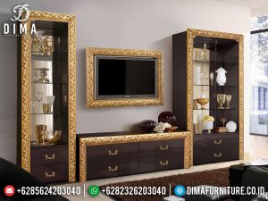 Inspiring Design Bufet TV Mewah Minimalis Golden Carving Luxury Jepara SK-0538