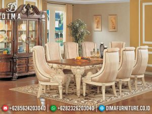 New Meja Makan Mewah 8 Kursi Luxury Carving White Duco Excellent SK-0564